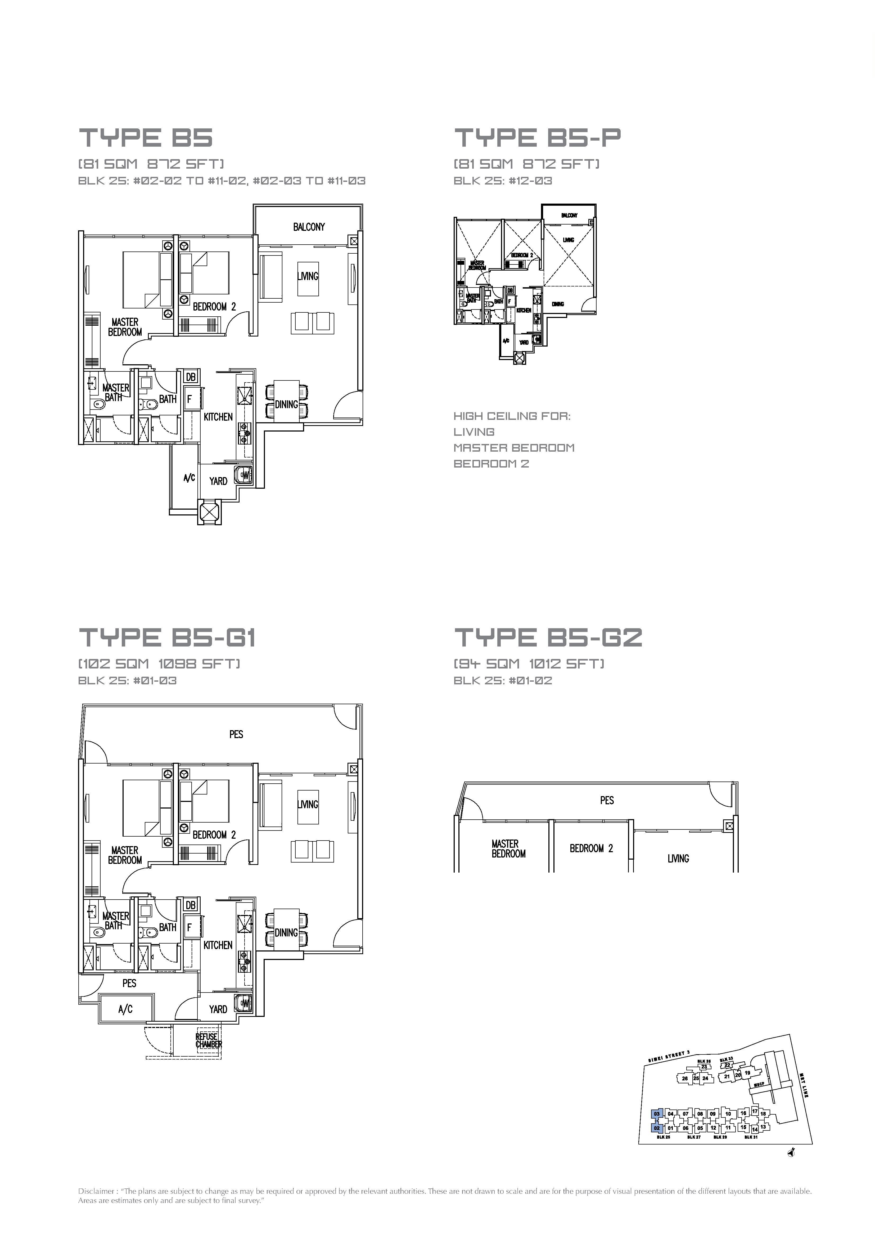My Manhattan 2 Bedroom Floor Plans Type B5, B5 P, B5 G1